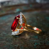 Vintage 1970's Ring Ruby and Clear Swarovski Crystals 18k Yellow Gold Plated Band Made in USA
