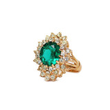 Vintage Emerald and Clear Swarovski Crystal Cocktail Ring 18k Yellow Gold Electroplated May Birthstone
