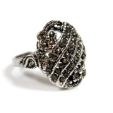 Vintage Unique Genuine Marcasite Ring 18k White Gold Made in USA