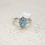 Vintage Ring Aquamarine and Clear Swarovski Crystals 18kt White Gold Electroplated Made in USA