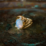 Vintage Pinfire Opal Ring with Clear Swarovski Crystals 18k Yellow Gold Electroplated Ring Made in USA
