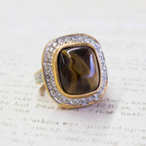 Vintage Genuine Tiger Eye Swarovski Crystals 18k Yellow Gold Electroplated Cocktail Ring Made in USA