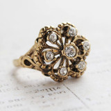 Vintage Ring set with Swarovski Crystals Antiqued 18k Yellow Gold Electroplated Made In USA