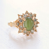 Vintage Ring Genuine Jade surrounded with Swarovski Crystals 18k Yellow Gold Electroplated