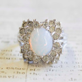 Vintage Pinfire Opal and Clear Swarovski Crystal Ring 18k White Gold Electroplated Made in USA