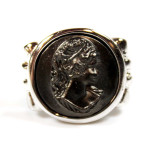 Vintage Black Oxidized Cameo Rhodium Plated Ring Made in USA