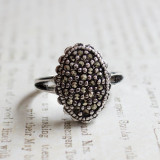 Vintage Genuine Marcasite Ring Antiqued 18k White Gold Electroplated Made in USA