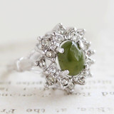 Vintage Genuine Jade with Swarovski Crystals 18k White Gold Electroplated Cocktail Ring Made in USA