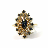 Vintage Sapphire and Clear Swarovski Crystals Cocktail Ring 18k Yellow Gold Electroplated