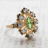 Vintage Peridot Swarovski Crystals and Clear Crystal Cocktail Ring Antiqued 18k Gold Plated