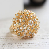 Vintage Cocktail Cluster Ring Clear Swarovski Crystals 18k Yellow Gold Electroplated Made in USA