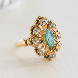 Vintage Ring set with Blue Topaz & Clear Swarovski Crystals Antiqued 18k Yellow Gold Electroplated