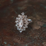 Vintage Clear Swarovski Crystals 18k White Gold Electroplated Victorian Style Ring Made in USA