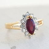 Vintage Garnet and Clear Swarovski Crystals 18kt Yellow Gold Plated Ring January Birthstone