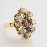 Vintage Smoky Topaz and Pinfire Opal Cocktail Ring Antiqued 18k Yellow Gold Electroplated