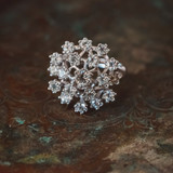 Vintage Clear Austrian Crystal Cluster Cocktail Ring 18k White Gold Electroplated Made in USA