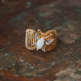 Vintage Butterfly Ring Pinfire Opal and Clear Swarovski Crystal 18kt Yellow Gold Electroplated