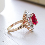 Vintage Ruby and Baguette Swarovski Crystal 18k Yellow Gold Electroplated Cocktail Ring Made in USA