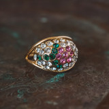 Vintage Flower Ring Swarovski Crystals 18k Yellow Gold Electroplated Made in USA