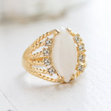 Vintage Genuine Opal Ring 18k Yellow Gold Electroplated Made in the USA