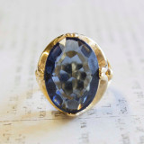 Vintage 1970s Cocktail Ring Sapphire Oval Cut Swarovski Crystal 18k Yellow Gold Electroplated