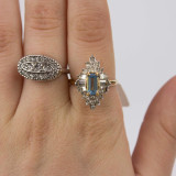 Vintage 1970s Ring set with Aquamarine and Clear Swarovski Crystals 18kt Gold Electroplated Made in USA