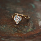 Vintage 1970s Heart Shape Ring with Clear Swarovski Crystal 18k Yellow Gold Electroplated