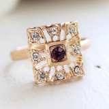 Vintage 1970's Amethyst and Clear Swarovski Crystals 18k Yellow Gold Electroplated Ring Made in USA