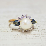 Vintage 1970's Faux Pearl Ring with Sapphire Swarovski Crystals 18kt Yellow Gold Electroplated