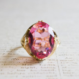 Vintage 1970's Cocktail Ring set with Rose Swarovski Crystal 18k Yellow Gold Electroplated