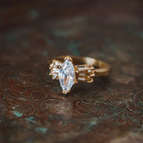 Vintage 1980's 18k Yellow Gold Plated Marquis Shaped Cubic Zirconia Engagement Style Ring