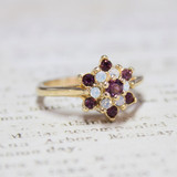 Vintage 1970's Amethyst Swarovski Crystal & Pinfire Opal Ring 18kt Yellow Gold Electroplated