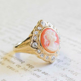Vintage 1970's 18k Yellow Gold Plated White on Coral Cameo Ring with Clear Swarovski Crystals