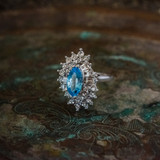 Vintage 1970's Aquamarine and Clear Swarovski Crystals 18k White Gold Electroplated Ring Made in USA