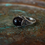 Vintage 1970's Black Pearl Bead Ring Antiqued 18k White Gold Electroplated Made in USA