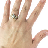 Vintage 1980s Ring Clear Cubic Zirconia with Clear Swarovski Crystals 18k Yellow Gold Electroplated
