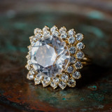 Vintage Clear Swarovski Crystal Cocktail Ring 18k Yellow Gold Electroplated Made in the USA