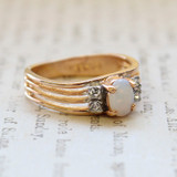 Vintage Genuine Jelly Opal Ring -  Clear Crystal Accents - 18kt  Yellow Gold Electroplated - October Birthstone - Made in the USA