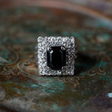 Vintage Black and Clear Swarovski Crystal Cocktail Ring 18k White Gold Electroplated Made in USA