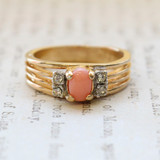 Vintage Genuine Coral Ring - Clear Swarovski Crystal Side Accents - 18kt Yellow Gold Electroplated - Made in the USA