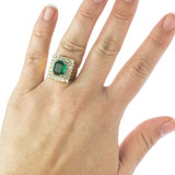 Vintage Emerald and Clear Swarovski Crystal Cocktail Ring 18k Yellow Gold Electroplated Made in USA