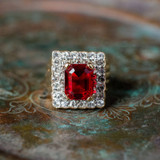 Vintage Ruby and Clear Swarovski Crystal Cocktail Ring 18k Yellow Gold Electroplated Made in USA