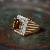 Vintage Smokey Topaz and Clear Swarovski Crystal Cocktail Ring 18k Yellow Gold Electroplated