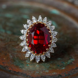 Vintage Ruby and Clear Swarovski Crystal Cocktail Ring 18k Gold Electroplated Made in USA