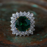 Vintage Emerald and Clear Swarovski Crystal Cocktail Ring 18k Yellow Gold Electroplated