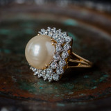 Vintage Pearl Bead and Clear Swarovski Crystal Cocktail Ring 18k Yellow Gold Electroplated