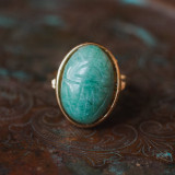 Vintage Genuine Jade Scarab Ring in 18k Gold Electroplated Setting, Made in USA
