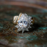 Vintage Ring Clear Cubic Zirconia and Clear Swarovski Crystals 18kt Yellow Gold Electroplated