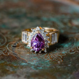 Vintage Ring Amethyst Cubic Zirconia and Clear Swarovski Crystals 18kt Yellow Gold Electroplated