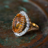 Vintage Light Topaz and Clear Swarovski Crystal Cocktail Ring 18k Yellow Gold Electroplated